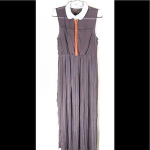 Sleeveless Pleated Brown/Orange Maxi Dress Sz Lg